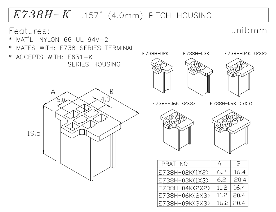 4.0 pitch wire to wire connector socket housing data sheet