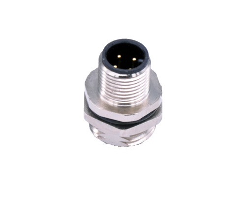 M12 Male Connector, Panel Mount, Rear Thread PG9, 4 5 8 12 Pin