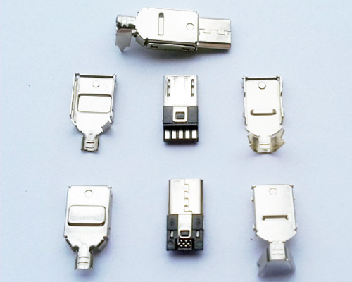 Micro Usb Connector, Five pads in one side, Three-pieces suit