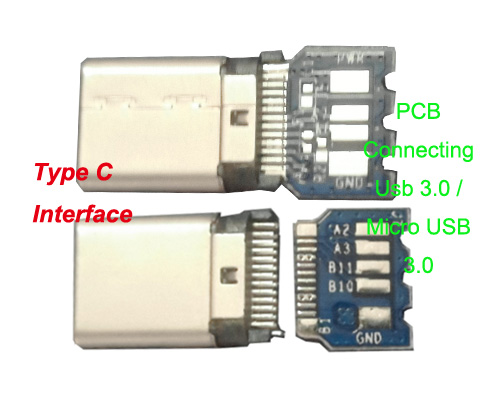 Usb Type-C to Usb 3.0 or Micro-B 3.0 Connectors