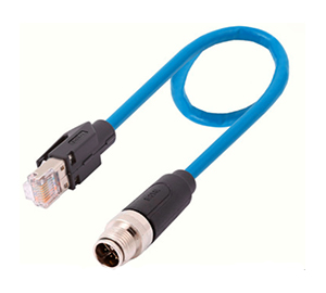 M12 to RJ45 Ethernet cable, Cat 6A Shielded X-coded 8 Pole Connector